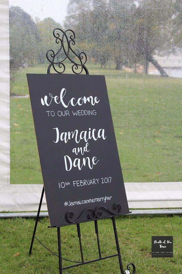 blackboard welcome sign with simple lettering