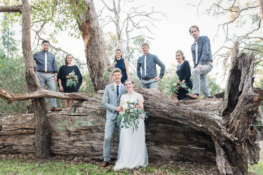 bridal party posing on fallen tree