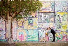 These Perth brides are incorporating street art into their wedding photographs