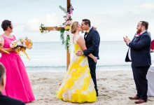 Brad & Jacqui's pink and yellow beach wedding in Dunsborough